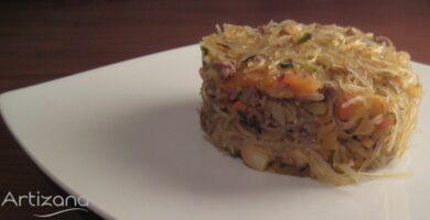 Delicisosa receta de Fideos Chinos con Carne Picada