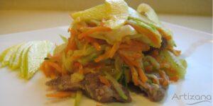 Wok Ternara con verdura y mango receta
