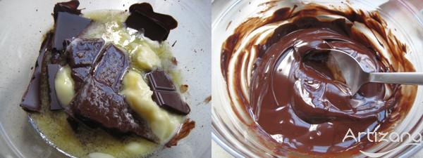 Preparación del chocolate para nuestros Brownie's
