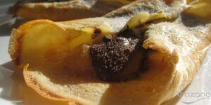 Receta de crepes de plátano y chocolate.