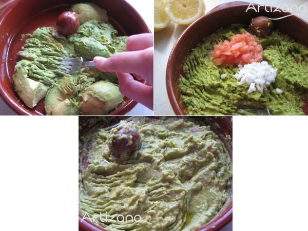 Preparación del guacamole en pasos