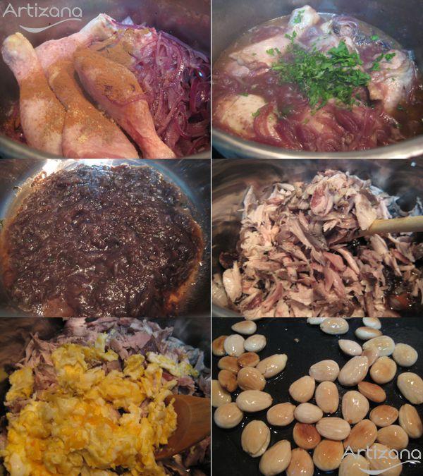 Preparamos por separado los ingredientes y el pollo para las pástelas