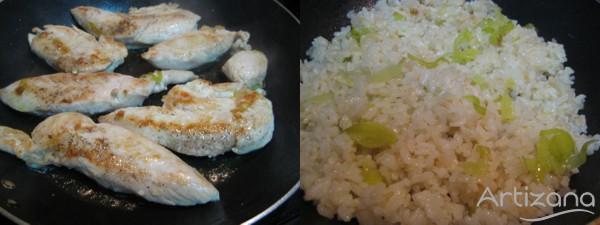 Solomillitos con arroz y compota de manzana