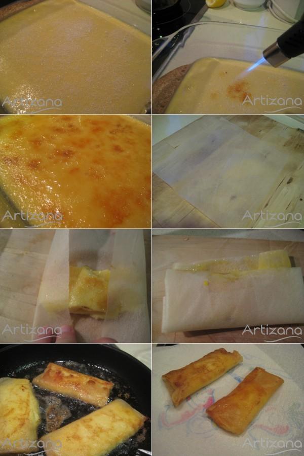 Preparación final de las delicias de crema y azúcar quemado
