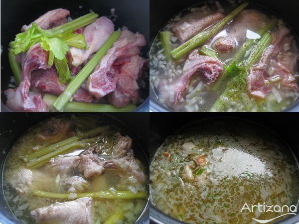 Preparación de sopa de pollo con fideos de arroz