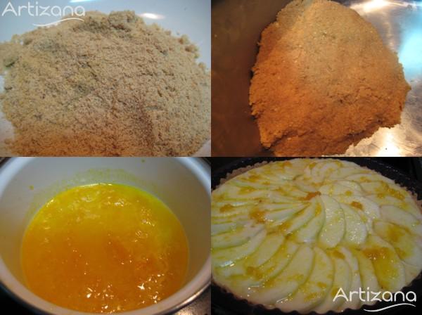 Preparación de la tarta de manzana con base de galletas