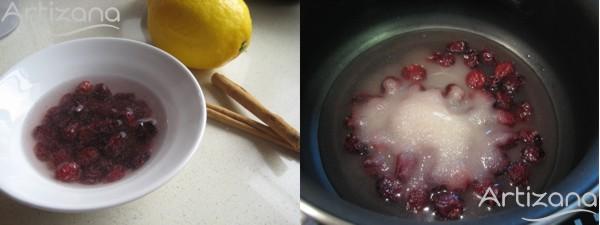 Preparación de la salsa de arándanos